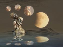 budha meditating near the sea with moonlight and yin-yang
