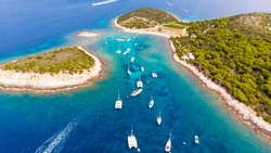 Budikovac Island off the island of Vis in Croatia where all the yachts park during the day during yacht week