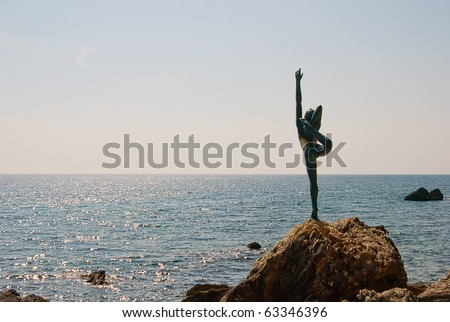 BUDVA - SEPT 23: Monument to the Ballerina expecting for the favorite seaman - a monument stands on road on beach Mogren. September 23, 2010 in Budva, Montenegro. - stock photo
