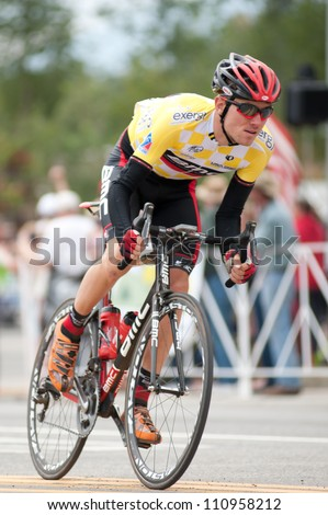 "BUENA VISTA, CO - AUGUST 22: Tejay van garderen races in US Pro Cycling Challenge on August 22, 2012 in Buena Vista, CO. The ""Queens Stage"" challenges 131 miles. Van Garderen is stage 2 winner."