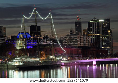 BUENOS AIRES, ARGENTINA – APRIL 21: Puerto Madero, seen here at night, is a popular destination for both travelers and locals in Buenos Aires, Argentina Aires April 21, 2019 in Buenos Aires, Argentina #1529641079