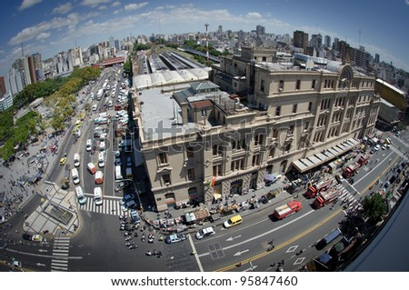 BUENOS AIRES, ARGENTINA - FEB 22: View of Once Train station where a train crashed killing 49 and injured about 600 people in Buenos Aires on February 22, 2012.