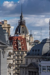Buenos Aires, Argentina - March 13th 2019. Old building antique roof, day city architecture dome