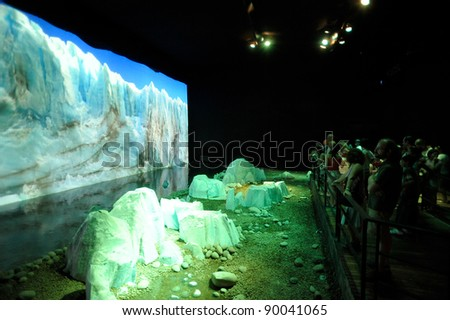 BUENOS AIRES, ARGENTINA - NOVEMBER 28: The Glaciers exhibition at Closure event of Tecnopolis, a science and technology fair. November 28, 2011 in Buenos Aires, Argentina