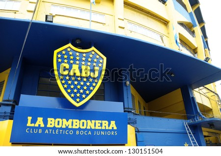 BUENOS AIRES ARGENTINE DEC 27: Stadium of Boca Juniors football team in Buenos Aires on 12 27 2012 in Argentina. The stadium is owned by Boca Juniors, one of Argentina's most famous football clubs