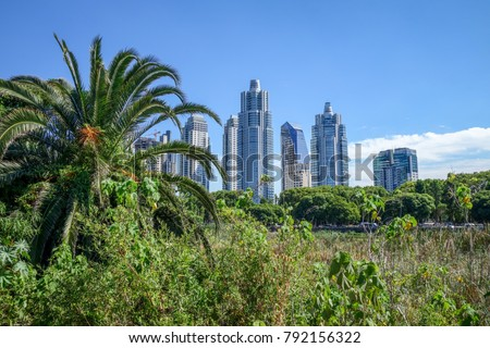 Buenos Aires cityscape, view from Costanera Sur ecological reserve #792156322