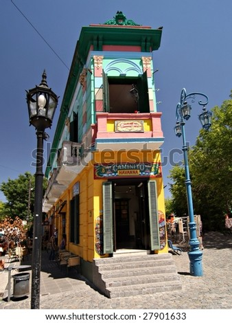 BUENOS AIRES - FEB 14:  The landmark corner of Caminito Street in La Boca is shown on February14, 2009 in Buenos Aires.  The street is a major tourist attraction & the area is filled with colorfully painted buildings.