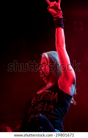 BUENOS AIRES - MAY 2:  Arch Enemy's Singer Angela Gossow performs onstage Singing at El Teatro Theater May 2, 2009 in Buenos Aires, Argentina - stock photo