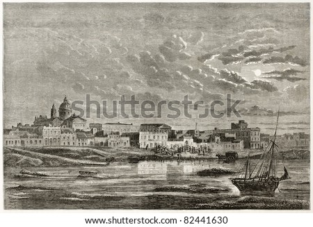 Buenos Aires old view from the sea. Created by D'Hastrel, published on Le Tour du Monde, Paris, 1860
