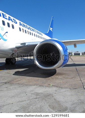 BUENOS AIRES - SEP 14: Aerolineas Argentinas jet at Ezeiza Airport on September 14, 2012 in Buenos Aires, Argentina. It is the only Latin American airport that operates flights to all continents.