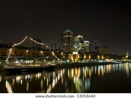 Buenos Aires Skyline, Argentina. Puerto Madero neighborhood at Night.