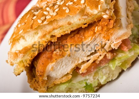 buffalo bbq chicken sandwich on a white plate