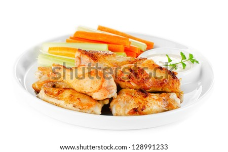 Buffalo chicken wings isolated on white