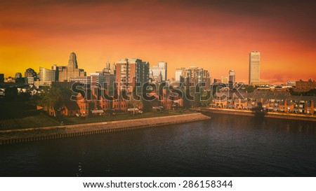 Buffalo New York Skyline Sunset. The Buffalo, New York skyline during sunset. Edited with a vintage look. All logos and trademarks removed.