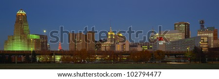 Buffalo, Skyline at Dusk, New York