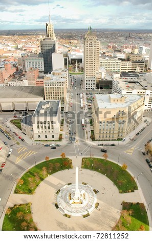 Buffalo skyline from the City Hall observation deck - stock photo