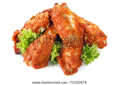 Buffalo wings, isolated on white background.  Delicious spicy chicken.
