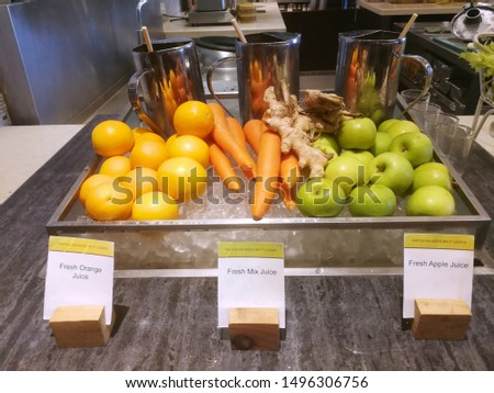 Buffet drinks at the hotel with Fresh Orange, Fresh Mix and Fresh Apple Juice.