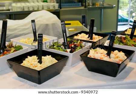 Buffet - salads ready to be served at a wedding reception