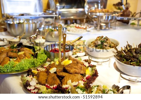 stock photo : Buffet table at a dinner party