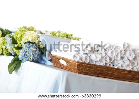 stock photo Buffet Table For A Wedding Event Fresh Flowers and Napkins