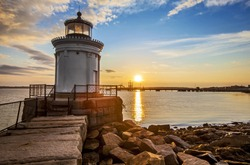 Bug Light Lighthouse in Portland Maine at sunrise