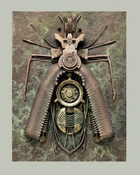 Bug made of metal, plastic parts, waste recyclable materials, used elements of old objects. 3D wall painting made by hand. Professional craft. The second painting of three paintings in the series.