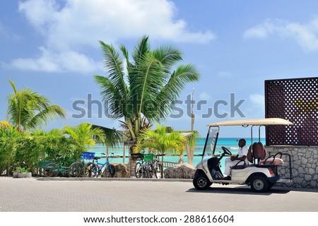 Buggy car waiting clients. La Digue, Seychelles - September 1, 2013.