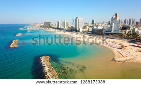 Bugrashov Beach Tel Aviv, Israel. The picture was taken with a drone.