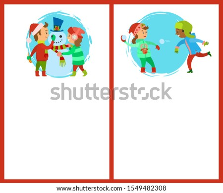 Build a snowman and snowball fights postcards. Happy holidays, children making man of snow, fighting by icy balls, raster posters, text sample and circle