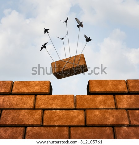 Build a wall business concept  or removing an obstacle as a group of birds placing a brick to complete a wall as a puzzle metaphor and working together symbol for creating a successful structure.