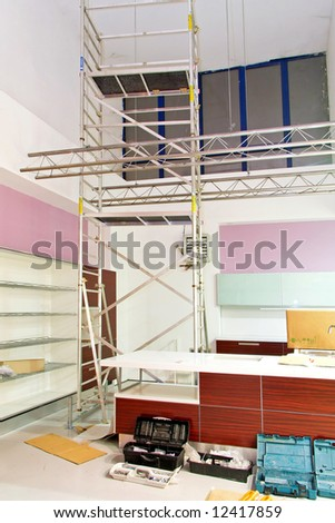 Build new modern kitchen with scaffold indoor