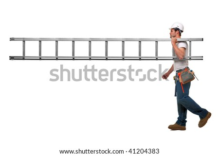 Builder carrying a ladder with nobody on the other end, isolated on white background with plenty of copy space.