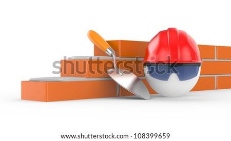 builder in helmet, 3d illustration on white background - stock photo