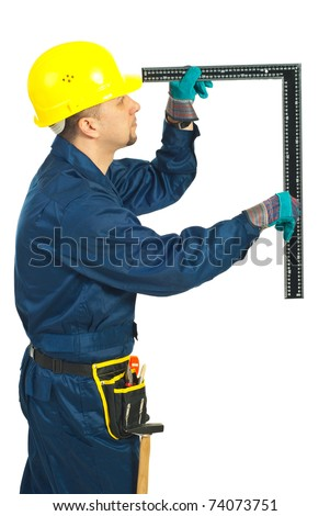 Builder man making measurement with a L square level isolated on white background
