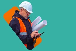 Builder man with a phone. Builder with blueprints on a turquoise background. Hard hat and construction uniforms on the builder. Construction uniform sale concept. Sale of protective uniforms