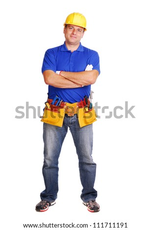 Builder on white background full length