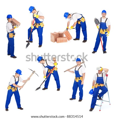 Builders or workers in various working positions collage - isolated