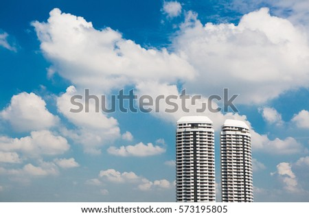 Building a blue sky with clouds in sunshine. #573195805