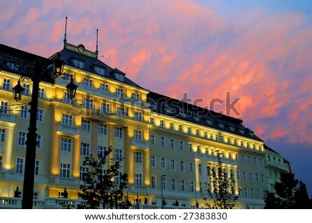 Building after sunset, Bratislava, Slovakia