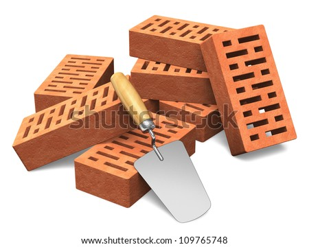 Building and construction industry concept: group of red bricks and metal trowel isolated on white background