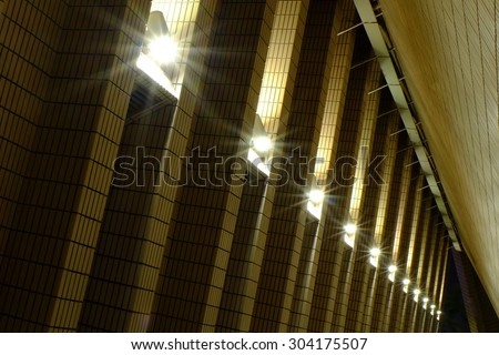 Building and electric lamps at night time