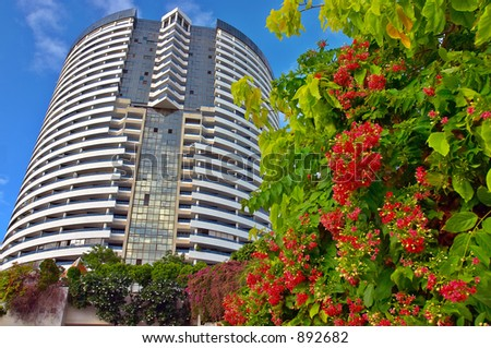 Building and flowers