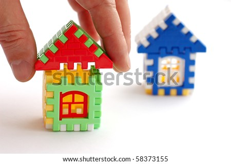 Building and house designing on a white background