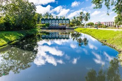 Building and nature of the historic city of Paramaribo, Suriname. The historic inner city of Paramaribo is a UNESCO World Heritage Site since 2002.