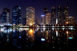 Building at night.