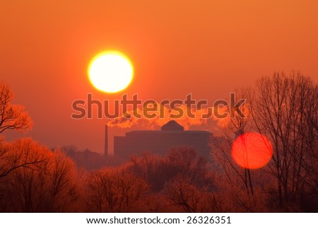 Building at sunrise in the winter