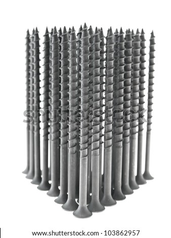 Building black screws. Isolated on white.