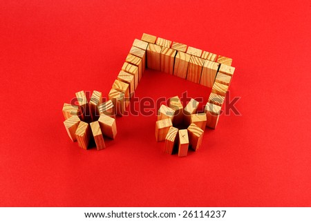 music symbols background. stock photo : building blocks /A Music symbol isolated on a red ackground