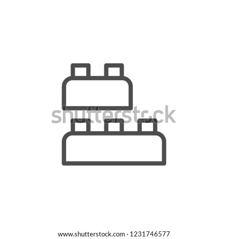 Building blocks toy line icon isolated on white